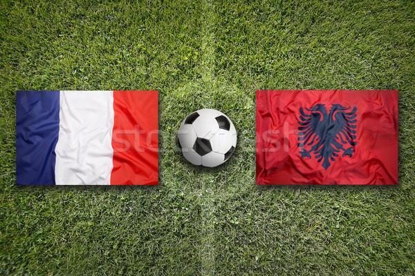 Франция против Албания флагами футбольное поле зеленый Сток-фото © kb-photodesign