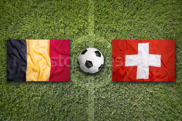 Belgium vs. Switzerland flags on soccer field Stock photo © kb-photodesign