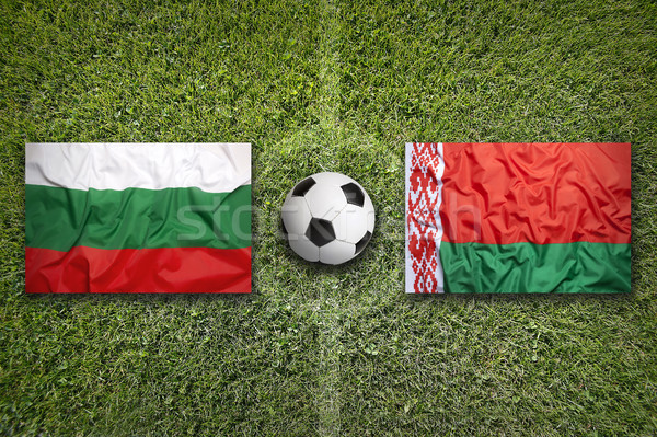 Bulgaria vs Bielorussia bandiere campo di calcio verde Foto d'archivio © kb-photodesign