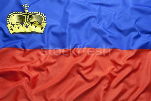 Tessili bandiera sfondo blu tessuto paese Foto d'archivio © kb-photodesign