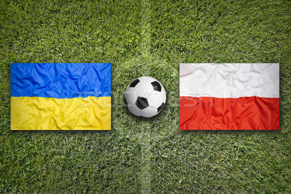 Украина против Польша футбольное поле флагами зеленый Сток-фото © kb-photodesign