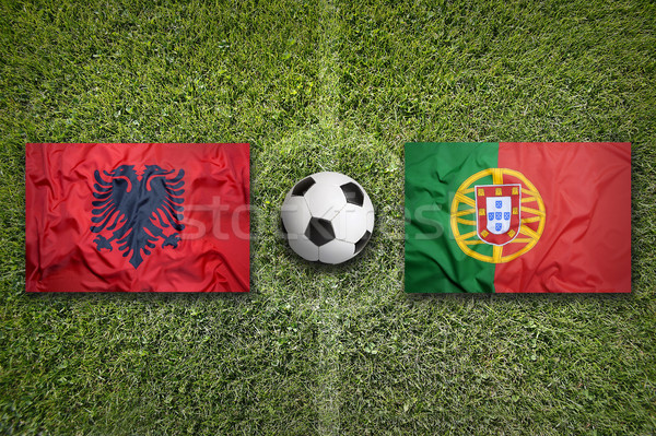 Albania vs. Portugal flags on soccer field Stock photo © kb-photodesign