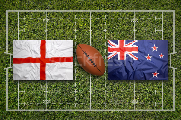 England vs. New Zealand flags on rugby field Stock photo © kb-photodesign
