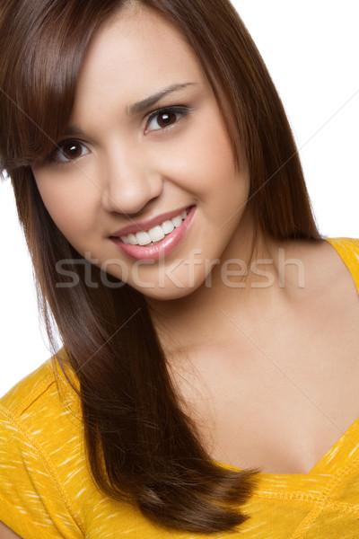 Koyu esmer kız güzel gülen genç model Stok fotoğraf © keeweeboy