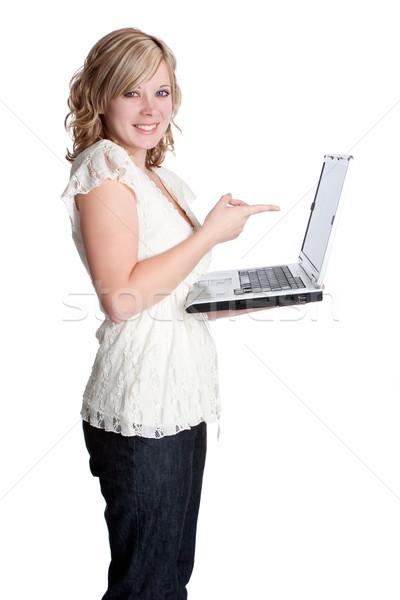 Kadın dizüstü bilgisayar gülen sarışın iş Stok fotoğraf © keeweeboy