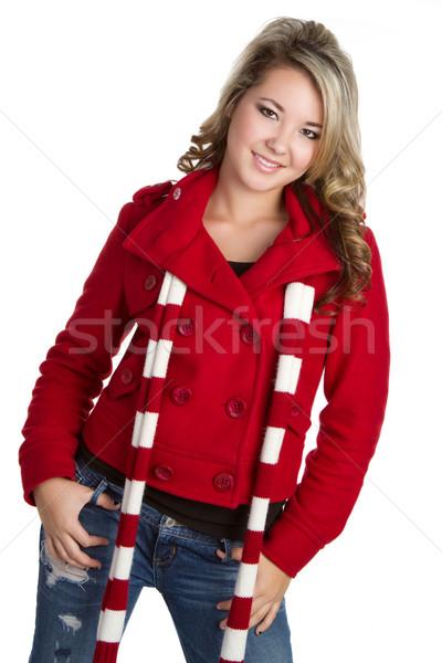 Kış eşarp kadın güzel kadın kız Stok fotoğraf © keeweeboy
