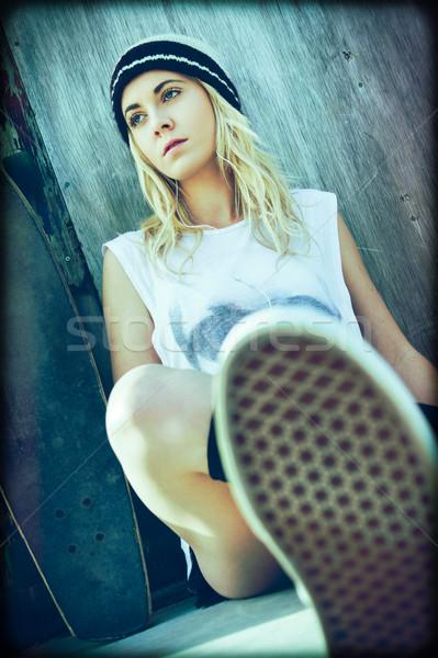 фигурист девушки довольно сидят женщину Сток-фото © keeweeboy