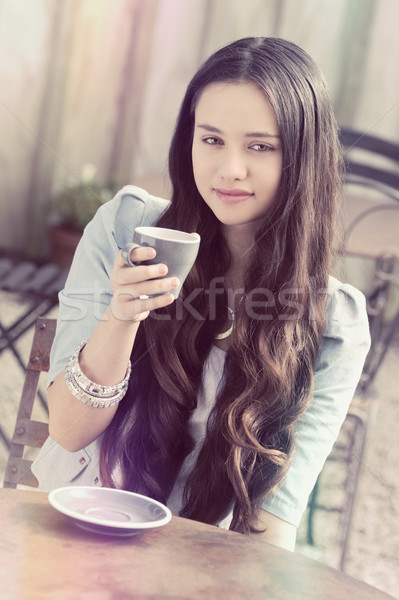 Woman Drinking Coffee Stock photo © keeweeboy