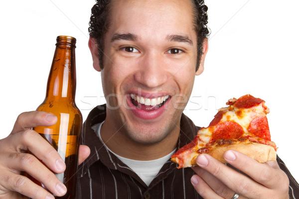 Stok fotoğraf: Pizza · bira · adam · mutlu · arka · plan