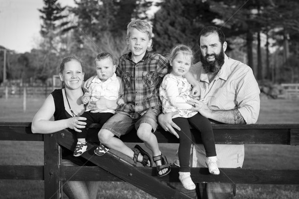 Black and White Family Portrait Stock photo © keeweeboy