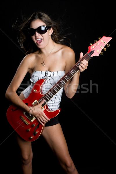 ロックスター 少女 演奏 ギター 幸せ 眼鏡 ストックフォト © keeweeboy
