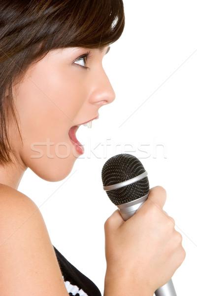 Cantando menina bastante microfone cabelo espaço Foto stock © keeweeboy