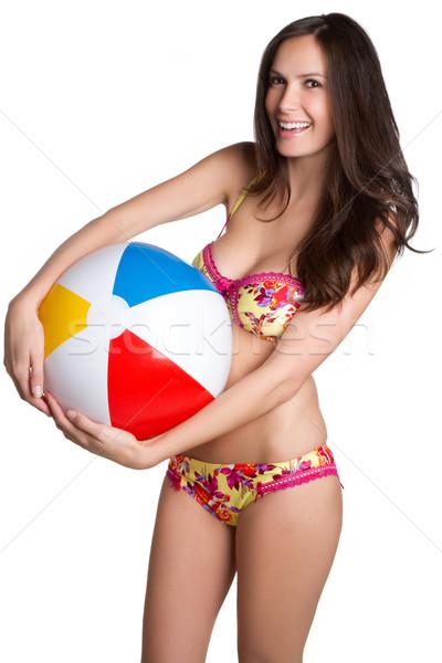 Beachball bikini Frau isoliert Mädchen Haar Stock foto © keeweeboy