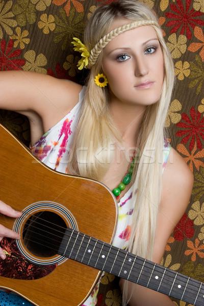 Hippi oynama gitar güzel sarışın çiçekler Stok fotoğraf © keeweeboy