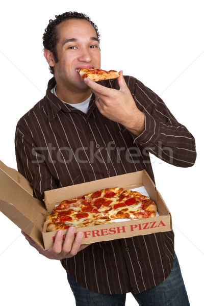Photo stock: Homme · manger · pizza · isolé · alimentaire · fond