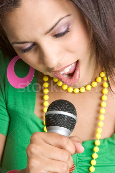 Mulher cantando belo jovem mulher negra música Foto stock © keeweeboy