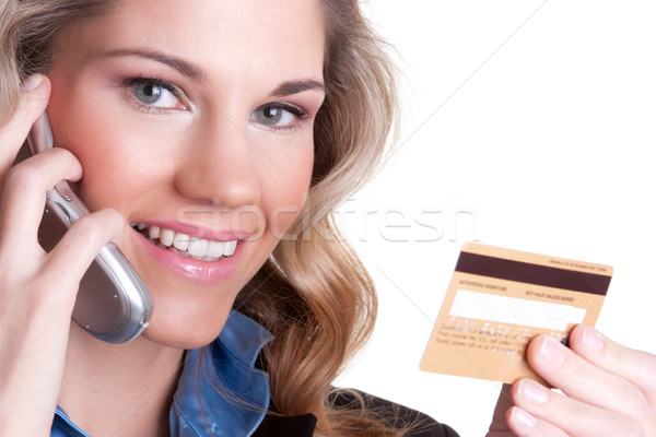 Stok fotoğraf: Kredi · kartı · gülümseyen · kadın · kız · telefon