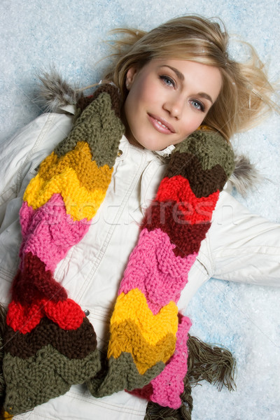 Kar kadın güzel bir kadın kız moda Stok fotoğraf © keeweeboy