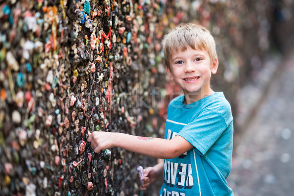 Boy in Bubble Gum Alley Stock photo © keeweeboy