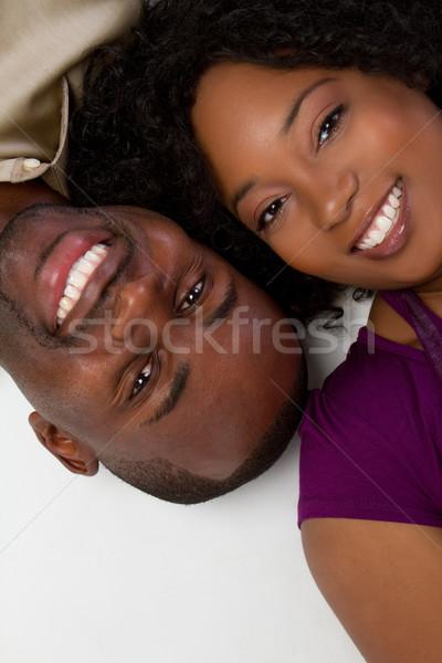 Photo stock: Couple · souriant · amour · femmes · heureux