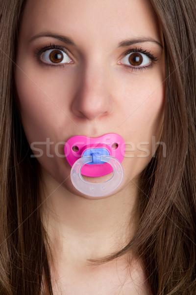 Pacyfikator kobieta piękna młoda kobieta baby twarz Zdjęcia stock © keeweeboy