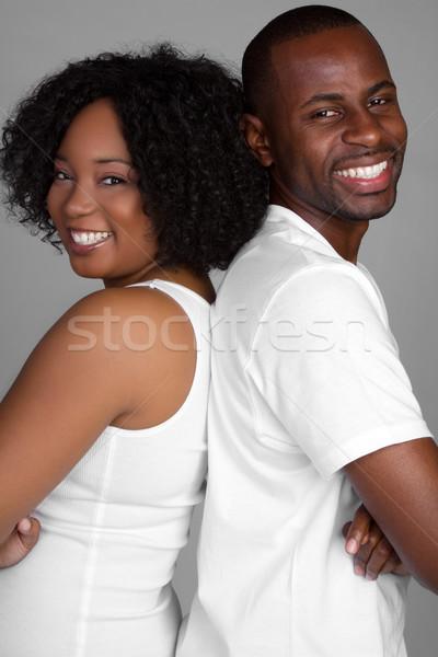 Photo stock: Heureux · noir · couple · jeunes · main · homme