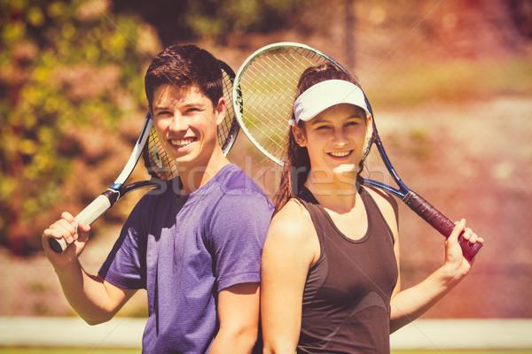 Giocare tennis ragazza Coppia Foto d'archivio © keeweeboy