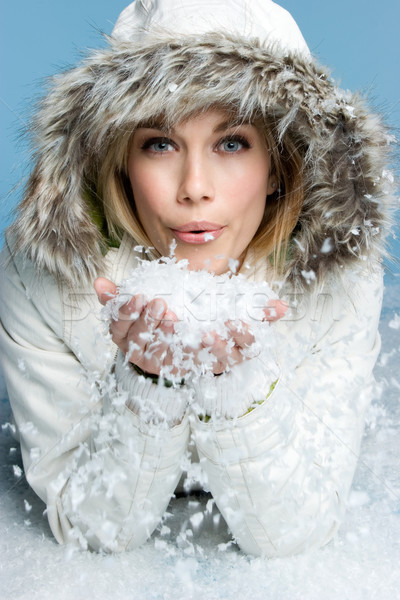 Woman Blowing Snow Stock photo © keeweeboy