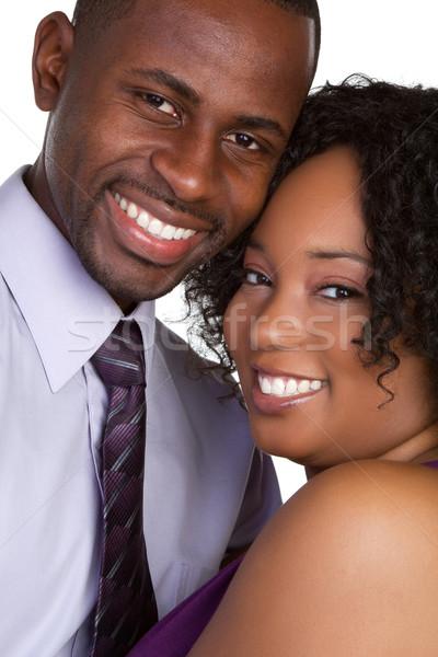Felice Coppia nero sorridere uomo donne Foto d'archivio © keeweeboy