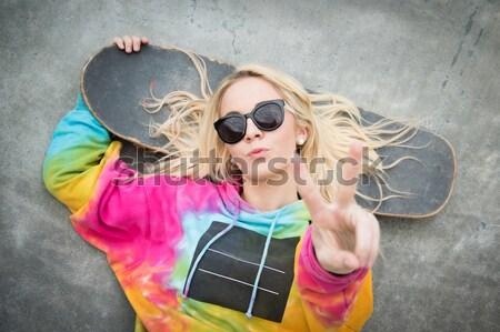 Blond Skater Girl Stock photo © keeweeboy