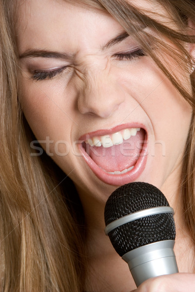 Mikrofon kız güzel şarkı söyleme kadın güzellik Stok fotoğraf © keeweeboy