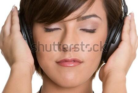 Photo stock: Casque · fille · musique · écouter · beauté · Teen