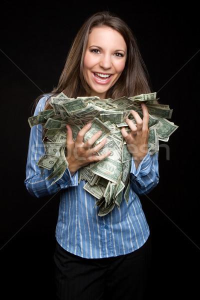 Kadın para güzel bir kadın nakit yüz Stok fotoğraf © keeweeboy