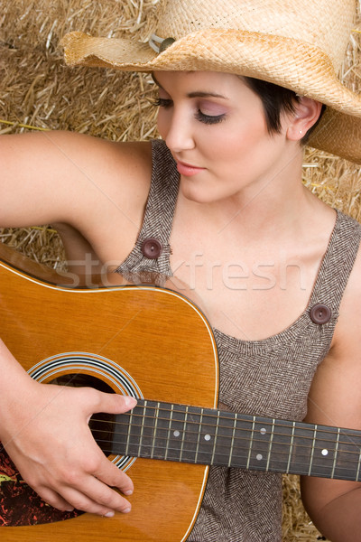 Country Guitar Woman Stock photo © keeweeboy