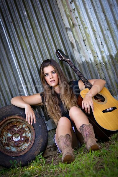 Country Guitar Girl Stock photo © keeweeboy