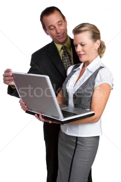 Iş adamları dizüstü bilgisayar iki adam model Stok fotoğraf © keeweeboy
