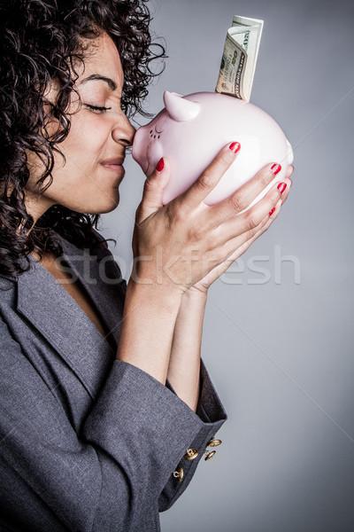 Zdjęcia stock: Banku · piggy · ceny · kobieta · business · woman · dziewczyna