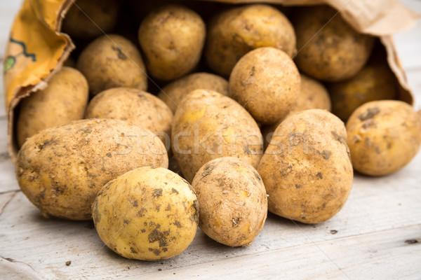 Ziemniaki worek brudne biały brud warzyw Zdjęcia stock © keeweeboy