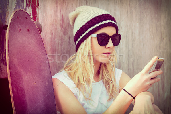 Skater Girl Phone Stock photo © keeweeboy