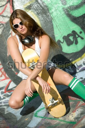 Young Brunette Skater GIrl Stock photo © keeweeboy