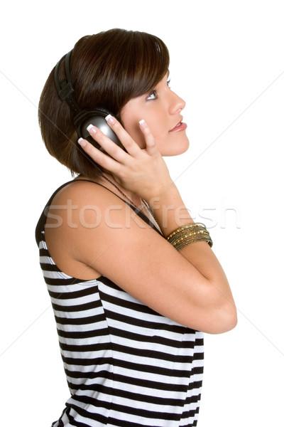 Kulaklık kız genç kız dinleme müzik portre Stok fotoğraf © keeweeboy
