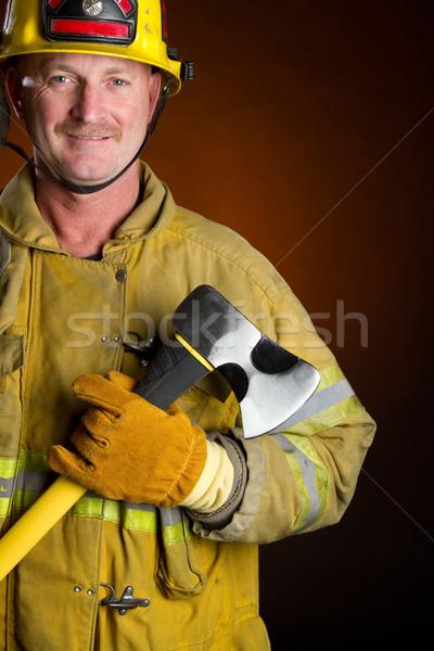 Foto stock: Sonriendo · bombero · hacha · hombre · fondo