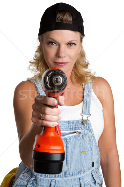 Woman Holding Drill Stock photo © keeweeboy