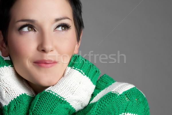 Güzel bir kadın güzel genç güzel kadın gülen kız Stok fotoğraf © keeweeboy