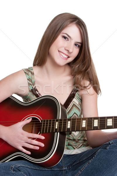 Stock foto: Mädchen · spielen · Gitarre · ziemlich · Gesicht