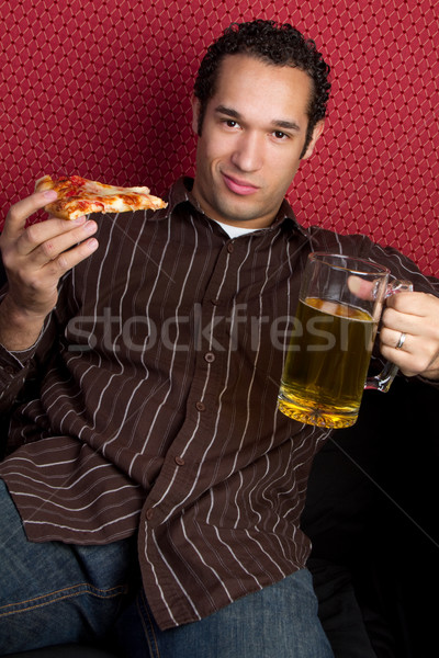 Pizza Beer Man Stock photo © keeweeboy