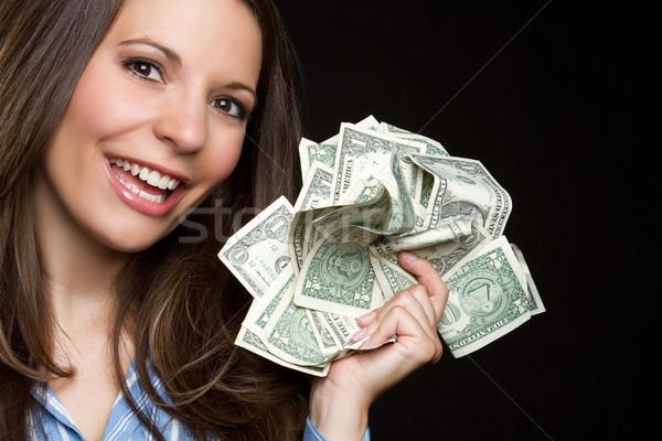 Foto stock: Mulher · dinheiro · belo · sorrindo · mãos