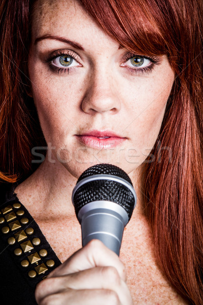 Woman Sining Closeup Stock photo © keeweeboy