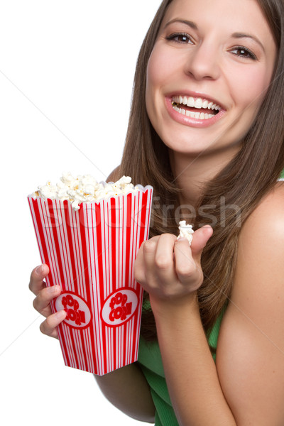 Photo stock: Popcorn · fille · joli · souriant · manger · alimentaire