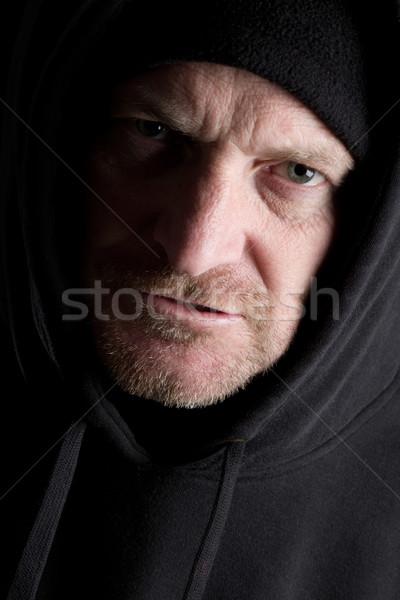 Escuro sinistro homem preto jovem seis Foto stock © keeweeboy